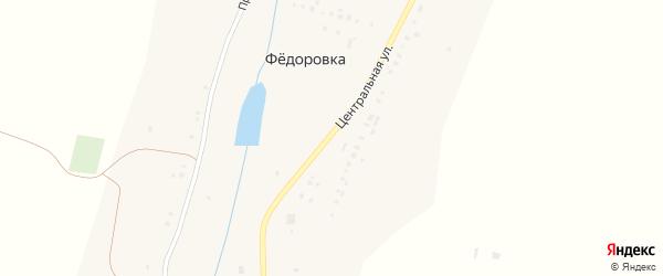 Прудовая улица на карте деревни Федоровки с номерами домов