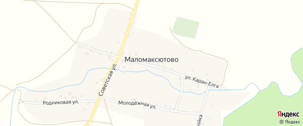 Улица Каран-Елга на карте деревни Маломаксютово с номерами домов