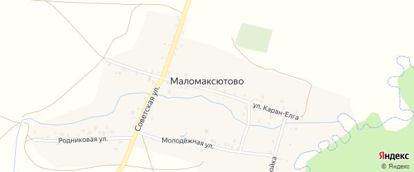 Родниковая улица на карте деревни Маломаксютово с номерами домов