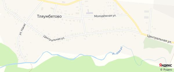 Центральная улица на карте деревни Тляумбетово с номерами домов