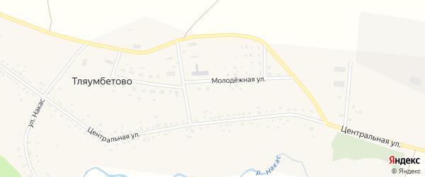Молодёжная улица на карте деревни Тляумбетово с номерами домов