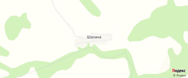 Карта деревни Шаланы в Башкортостане с улицами и номерами домов