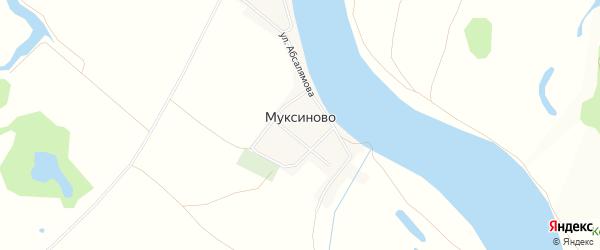 Карта деревни Муксиново в Башкортостане с улицами и номерами домов