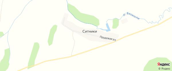Карта деревни Ситники в Башкортостане с улицами и номерами домов
