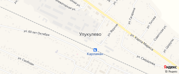 Луговая улица на карте деревни Улукулево с номерами домов