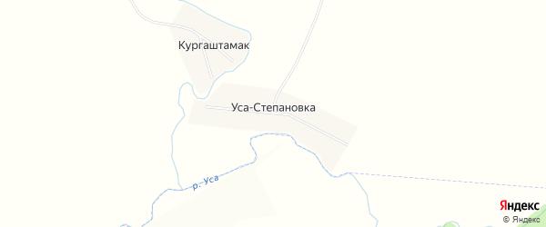 Карта деревни Уса-Степановки в Башкортостане с улицами и номерами домов