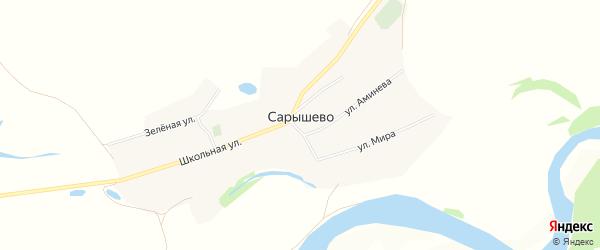 Карта деревни Сарышево в Башкортостане с улицами и номерами домов