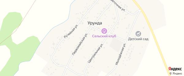 Ручейная улица на карте деревни Урунды с номерами домов