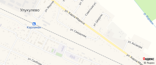 Улица Свердлова на карте деревни Улукулево с номерами домов