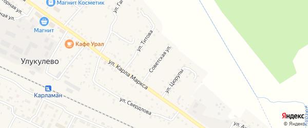 Советская улица на карте деревни Улукулево с номерами домов