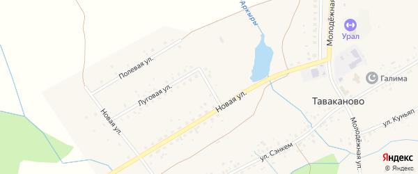 Набережная улица на карте деревни Таваканово с номерами домов