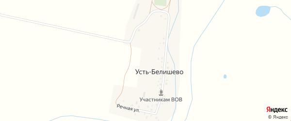 Речная улица на карте деревни Усть-Белишево с номерами домов