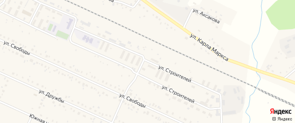 Улица Строителей на карте деревни Улукулево с номерами домов