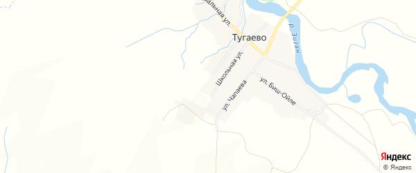 Карта деревни Тугаево в Башкортостане с улицами и номерами домов