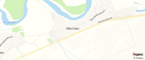 Карта деревни Абитово в Башкортостане с улицами и номерами домов