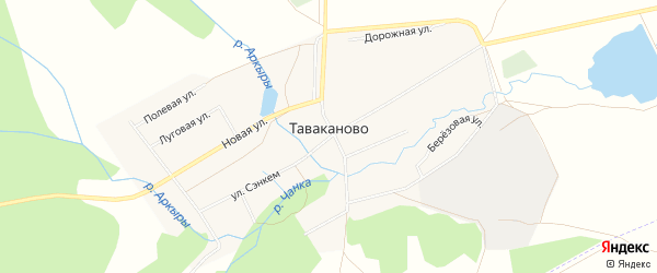 Карта деревни Таваканово в Башкортостане с улицами и номерами домов