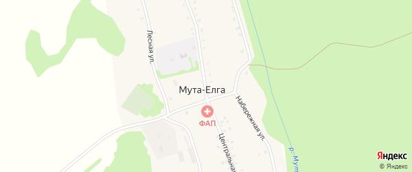 Центральная улица на карте деревни Муты-Елги с номерами домов