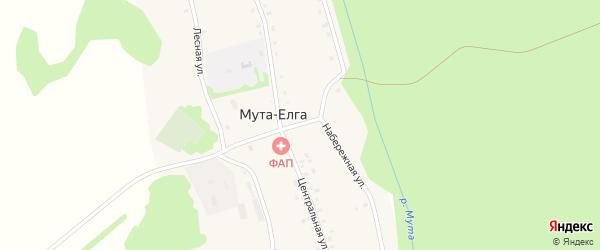 Набережная улица на карте деревни Муты-Елги с номерами домов