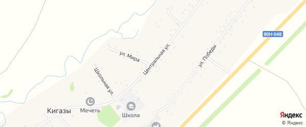Центральная улица на карте села Кигазы с номерами домов