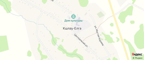 Речная улица на карте деревни Кшлау-Елги с номерами домов