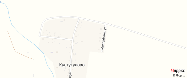 Центральная улица на карте деревни Кустугулово с номерами домов