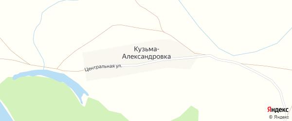 Центральная улица на карте деревни Кузьмы-Александровки с номерами домов