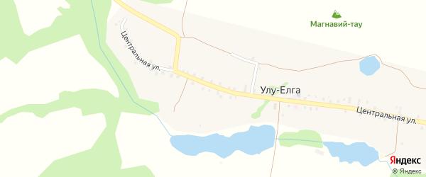 Полевой переулок на карте деревни Улу-Елги с номерами домов