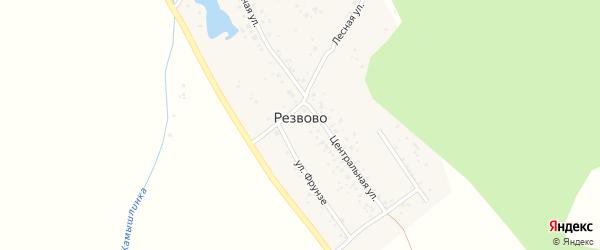 Центральная улица на карте деревни Резвово с номерами домов