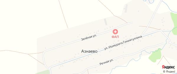 Зеленая улица на карте деревни Азнаево с номерами домов