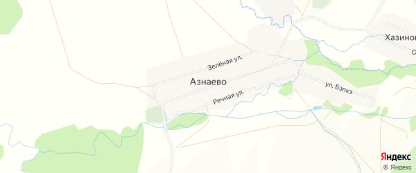 Карта деревни Азнаево в Башкортостане с улицами и номерами домов