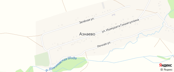 Улица Бэпкэ на карте деревни Азнаево с номерами домов