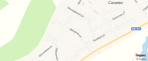 Звездная улица на карте деревни Сахаево с номерами домов