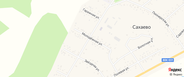 Молодежная улица на карте деревни Сахаево с номерами домов