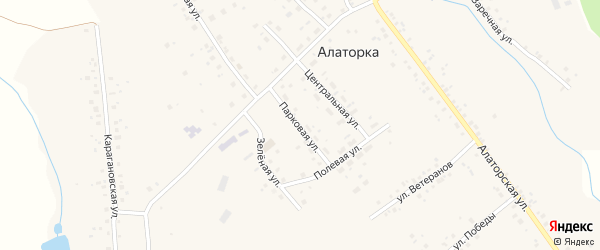 Парковая улица на карте села Алаторка с номерами домов