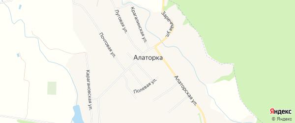 Карта села Алаторка в Башкортостане с улицами и номерами домов