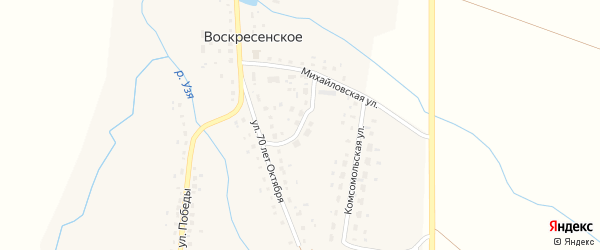 Молодежная улица на карте деревни Воскресенского с номерами домов