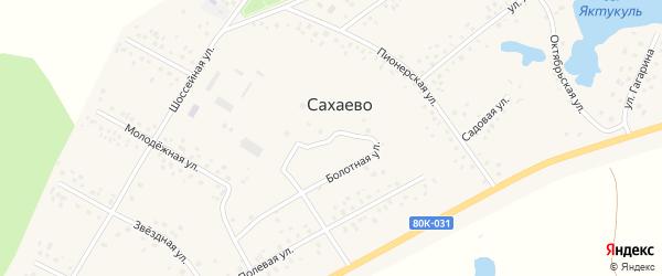 Болотная улица на карте деревни Сахаево с номерами домов