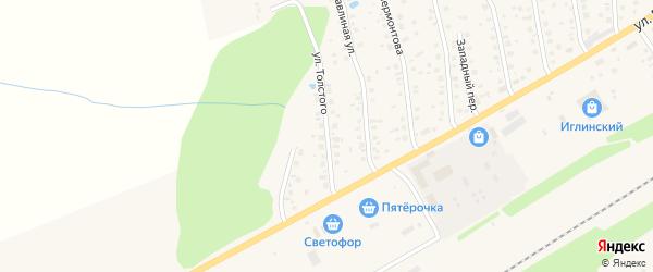 Улица Толстого на карте села Иглино с номерами домов