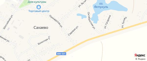 Садовая улица на карте деревни Сахаево с номерами домов