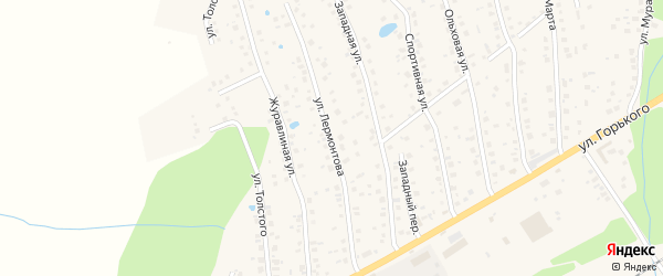 Улица Лермонтова на карте села Иглино с номерами домов