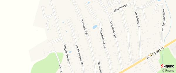 Западная улица на карте села Иглино с номерами домов
