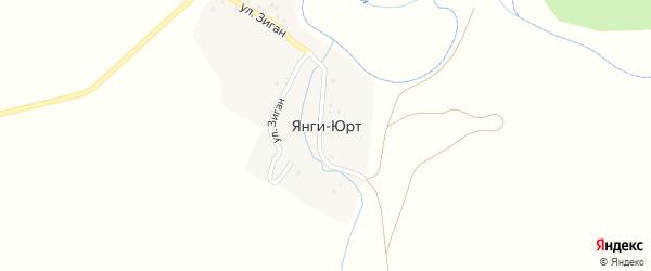 Левая улица на карте хутора Янги-Юрта с номерами домов