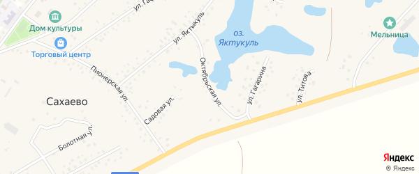 Октябрьская улица на карте деревни Сахаево с номерами домов