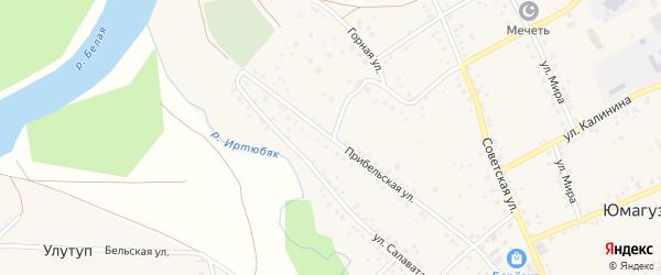 Прибельская улица на карте села Юмагузино с номерами домов