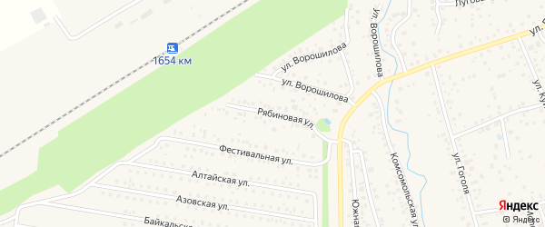 Рябиновая улица на карте села Иглино с номерами домов