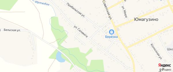 Улица Салавата на карте села Юмагузино с номерами домов