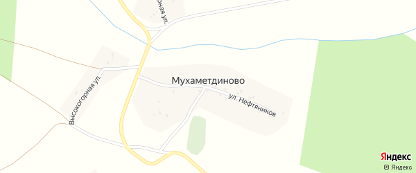 Высокогорная улица на карте деревни Мухаметдиново с номерами домов