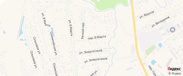 Переулок 8 Марта на карте села Иглино с номерами домов