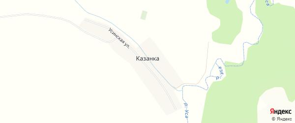 Карта деревни Казанки в Башкортостане с улицами и номерами домов