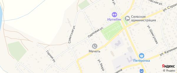 Парковая улица на карте села Юмагузино с номерами домов